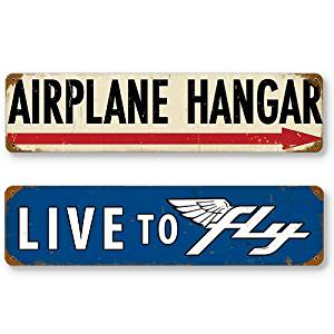 Aviation and Flight Tin Metal Sign Bundle - 2 Pilot Signs, 24 Gauge Steel: Airplane Hangar & Live to Fly, Each Sign: 20 x 5 inches