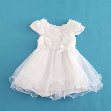 2016 5 Layer Baby Girl Dress White Floral Princess Short Dresses Summer Organza Christening Kids Dress Vestidos Infantis