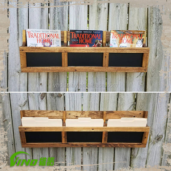 Vintage Wood Wall Book ShelfPaper Display RackRustic Magazine Holder With Chalkboard Front