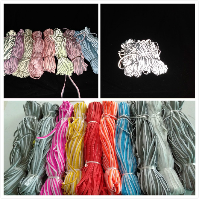 high visibility silver reflective piping for safety cloth / bag edge reflective bias cord piping stripe