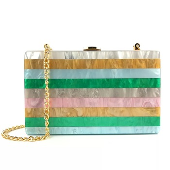China supplier new design green stripe acrylic cluth evening bag for women