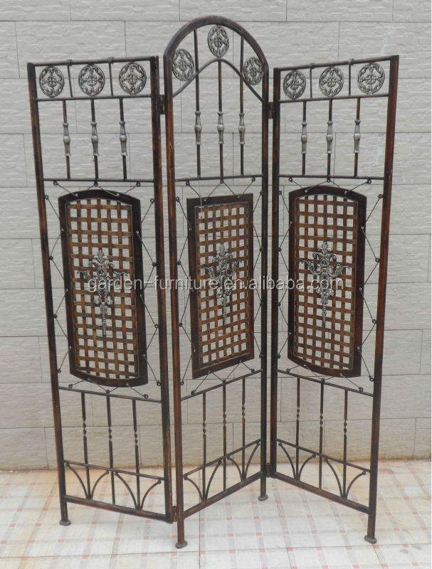 Wrought Iron Decorative Metal Folding Screen Room Divider