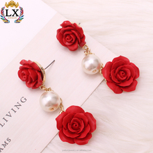 ELX-01019 wholesale latest design of double red rose earrings flower shaped stud earrings hanging pearl earrings