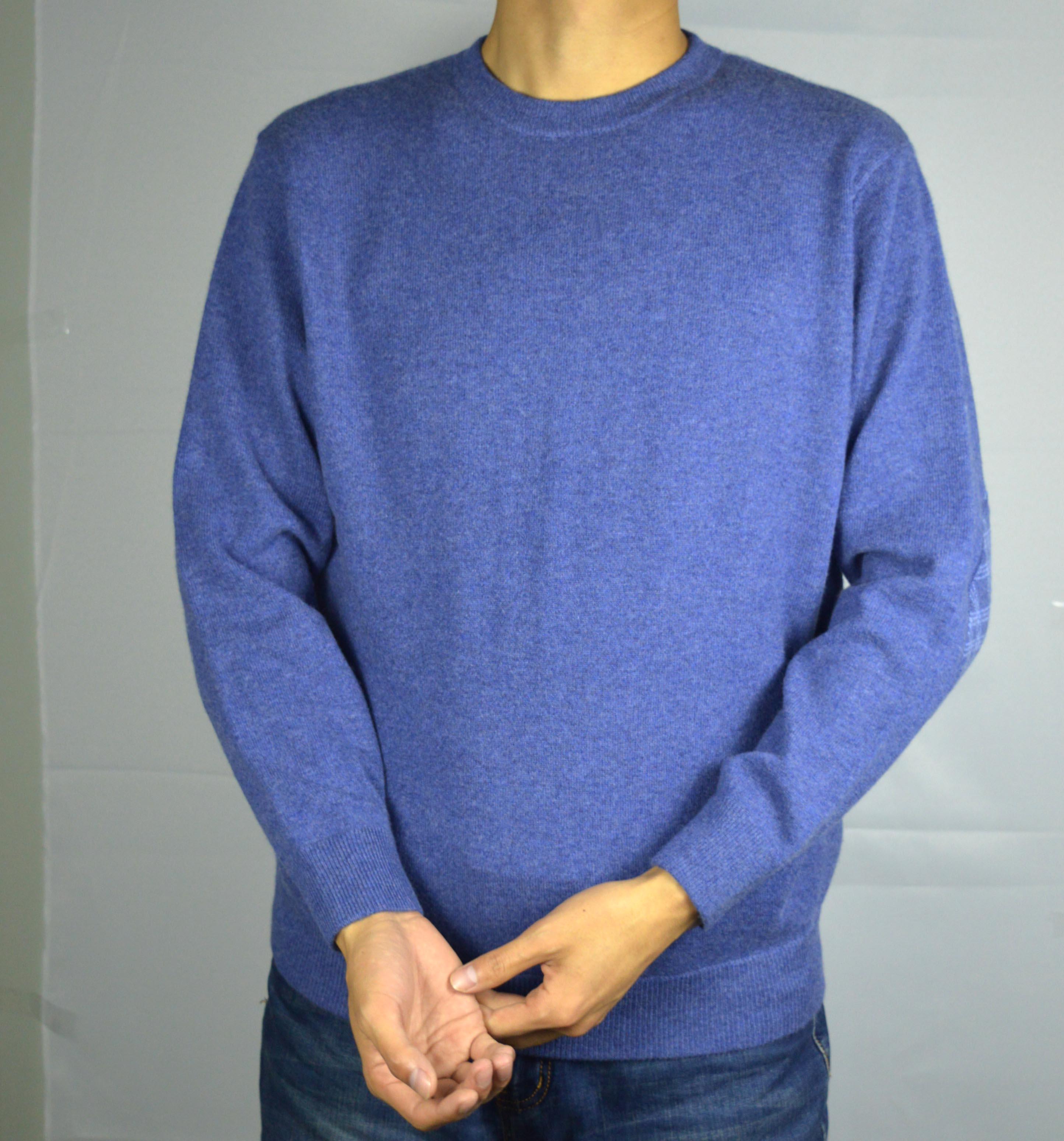 100% reinem kaschmir männer crew neck long sleeves ellenbogen patch herbst & winter 2019 2020 pullover