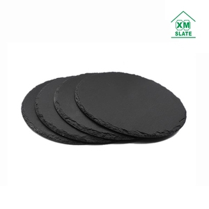 Dia 30cm hot sell for amazon ebay round slate cheese board natural slate stone plate