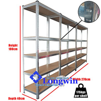 Low price 5 level boltless steel rack shelves,metal galvanized storage shelving