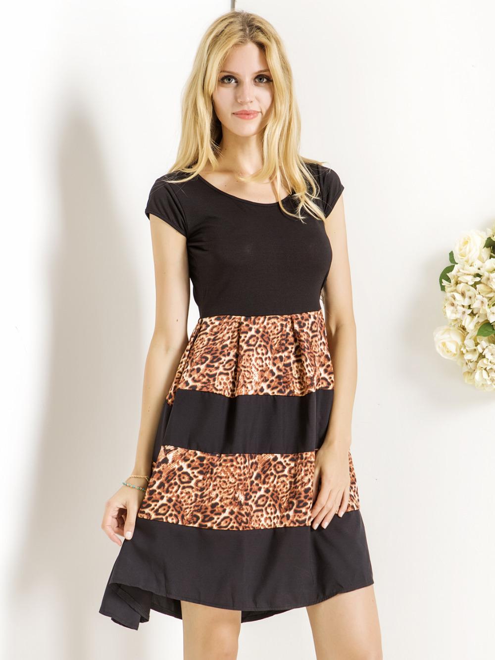 65a735ccb5 Get Quotations · 2015 Women Midi Dress Short Sleeve Patching Leopard Casual  High Waist A Line Skater Dress Vestidos