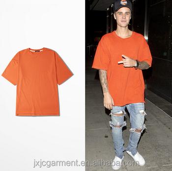 66f3b3bfb Oversized Justin bieber T shirts urban Clothing Kanye orange shirts blank t- shirt fear of
