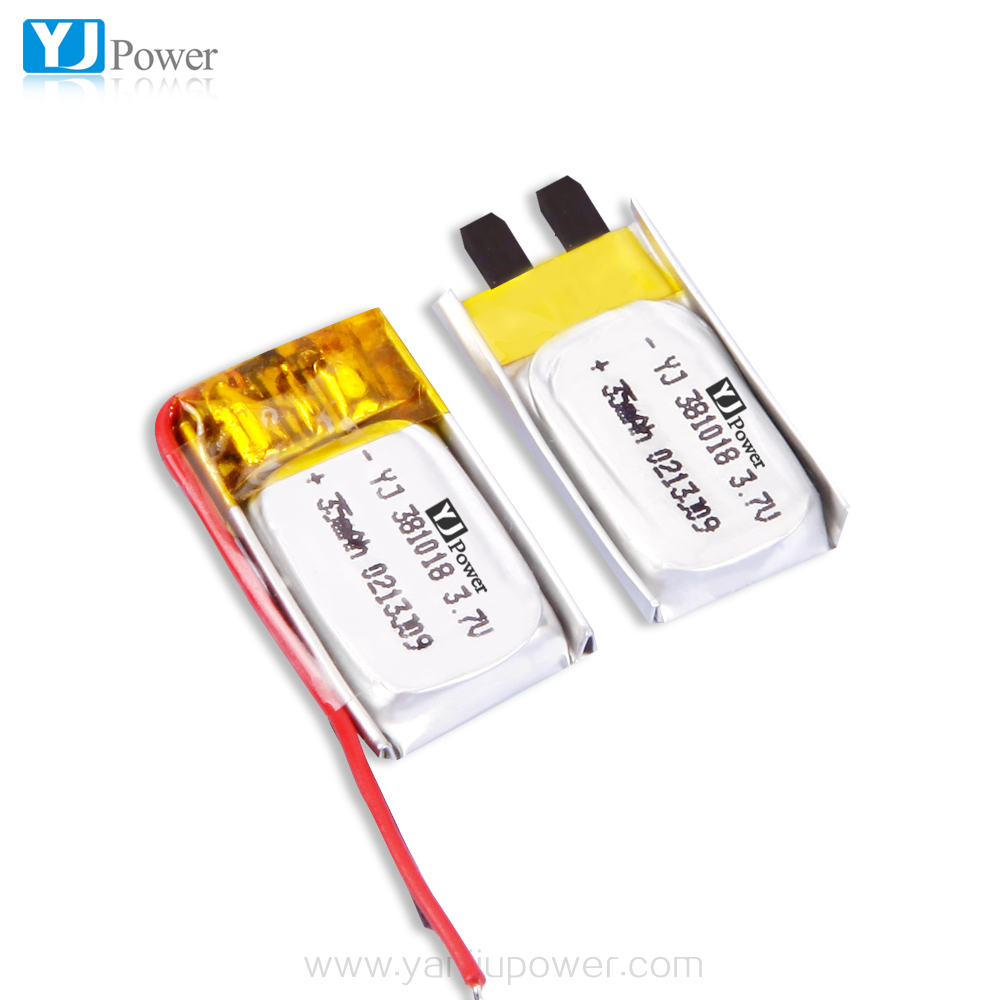 shenzhen YJ power 381013 35mah 3.7v 2parallel 70mah high capacity Rechargeable li-ion polymer battery