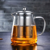 High Quality stainless steel Handcrafted borosilicate glass teapot with removable tea pot infuser