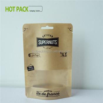 Mini Brown Bags Sugar Packaging Standup Pouch With Clear Window Kraft Paper Ziplock Aluminum Foil Bag