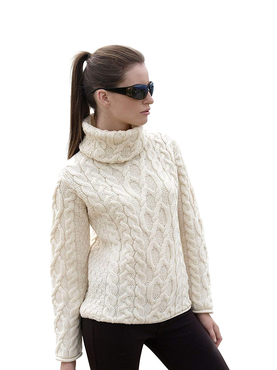 4a978526a4b Get Quotations · 100% Irish Soft Merino Wool Ladies Turtle Neck Sweater By  West End Knitwear