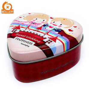 Metal heart shaped chocolate tin box for wedding gift