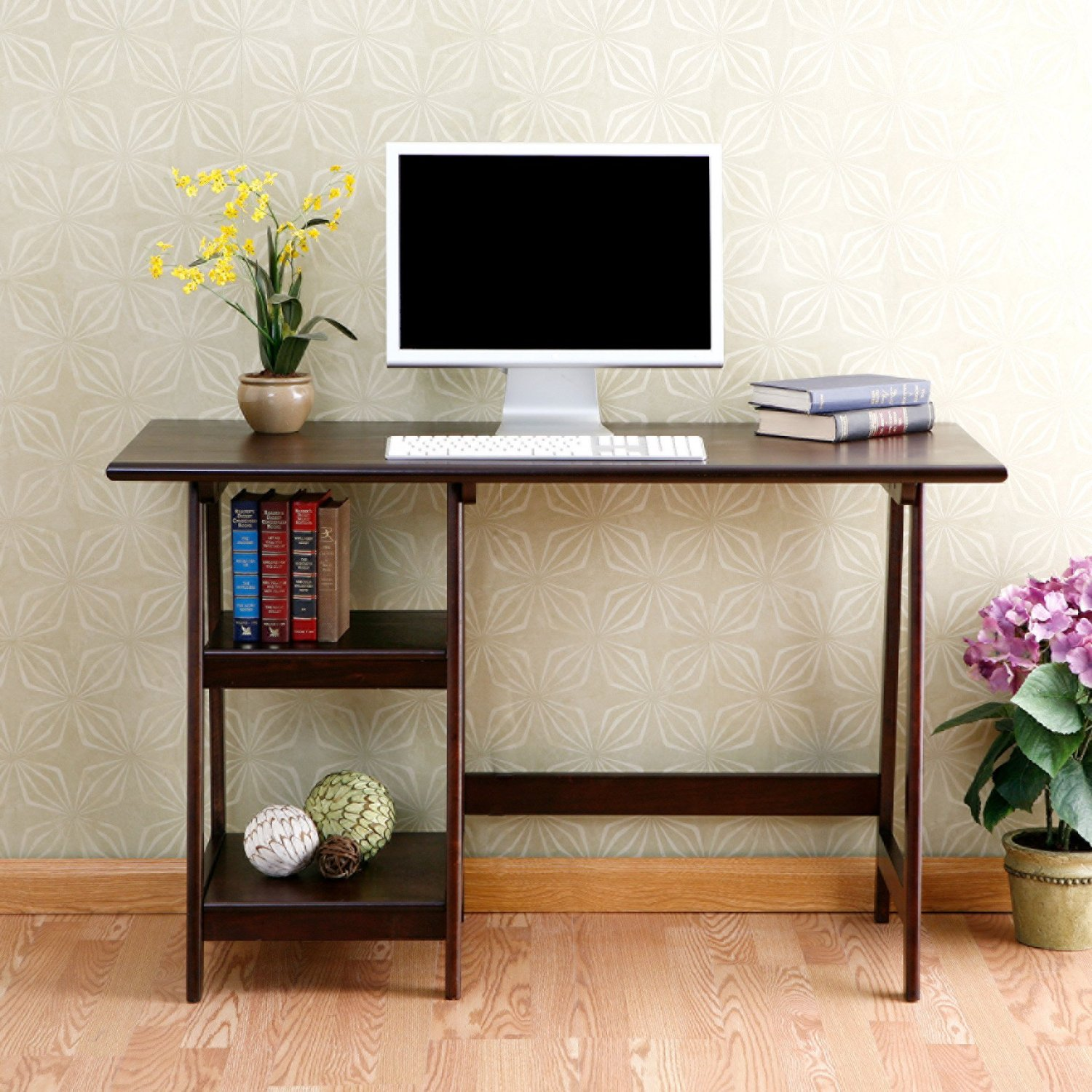 Wood Writing Computer Desk for Home Office, Espresso Finish