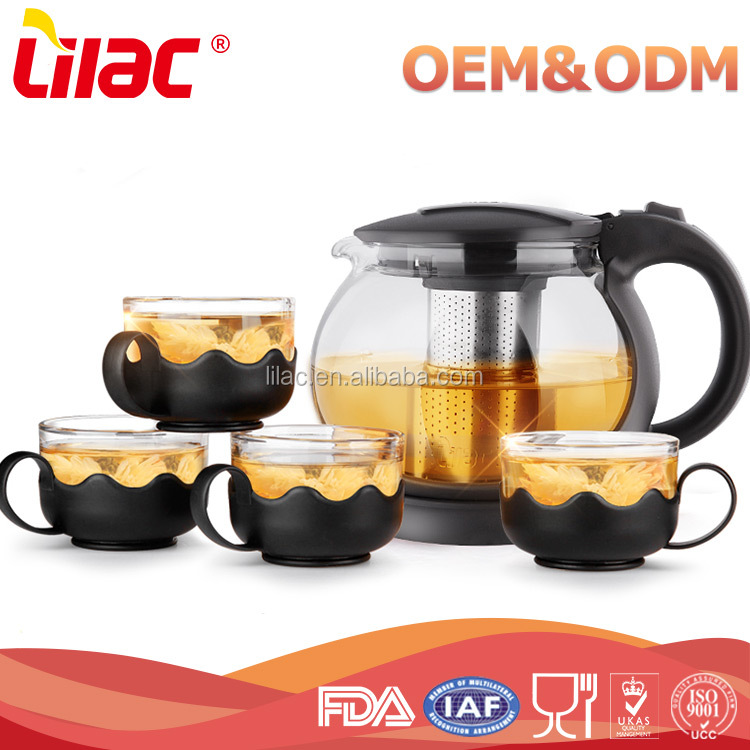 High Quality handblown Heat Resistant Borosilicate Glass Tea Pot Set with infuser
