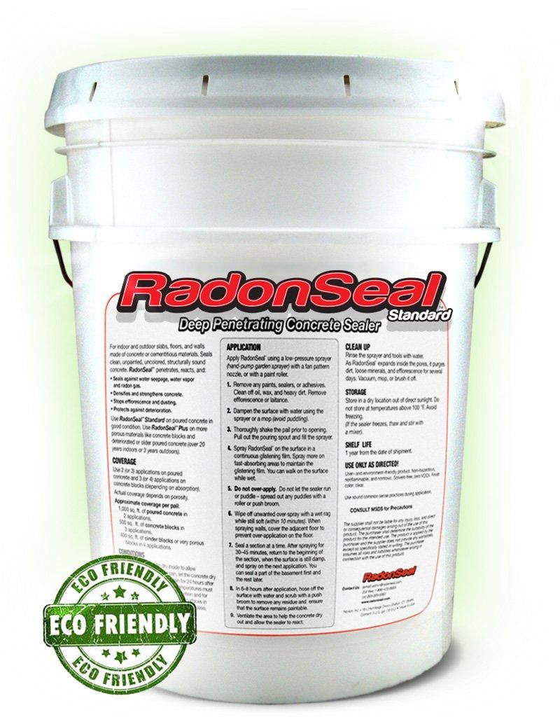 RadonSeal® Standard – Deep Penetrating Concrete Sealer (5-gal)   Basement Waterproofing & Radon Mitigation Sealer   Seals Concrete Against Water, Water Vapor, and Radon Gas   Permanent!