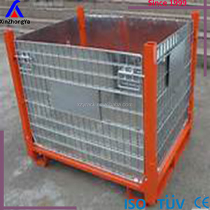 Euro stackable folding metal wire mesh pallet cage for sale