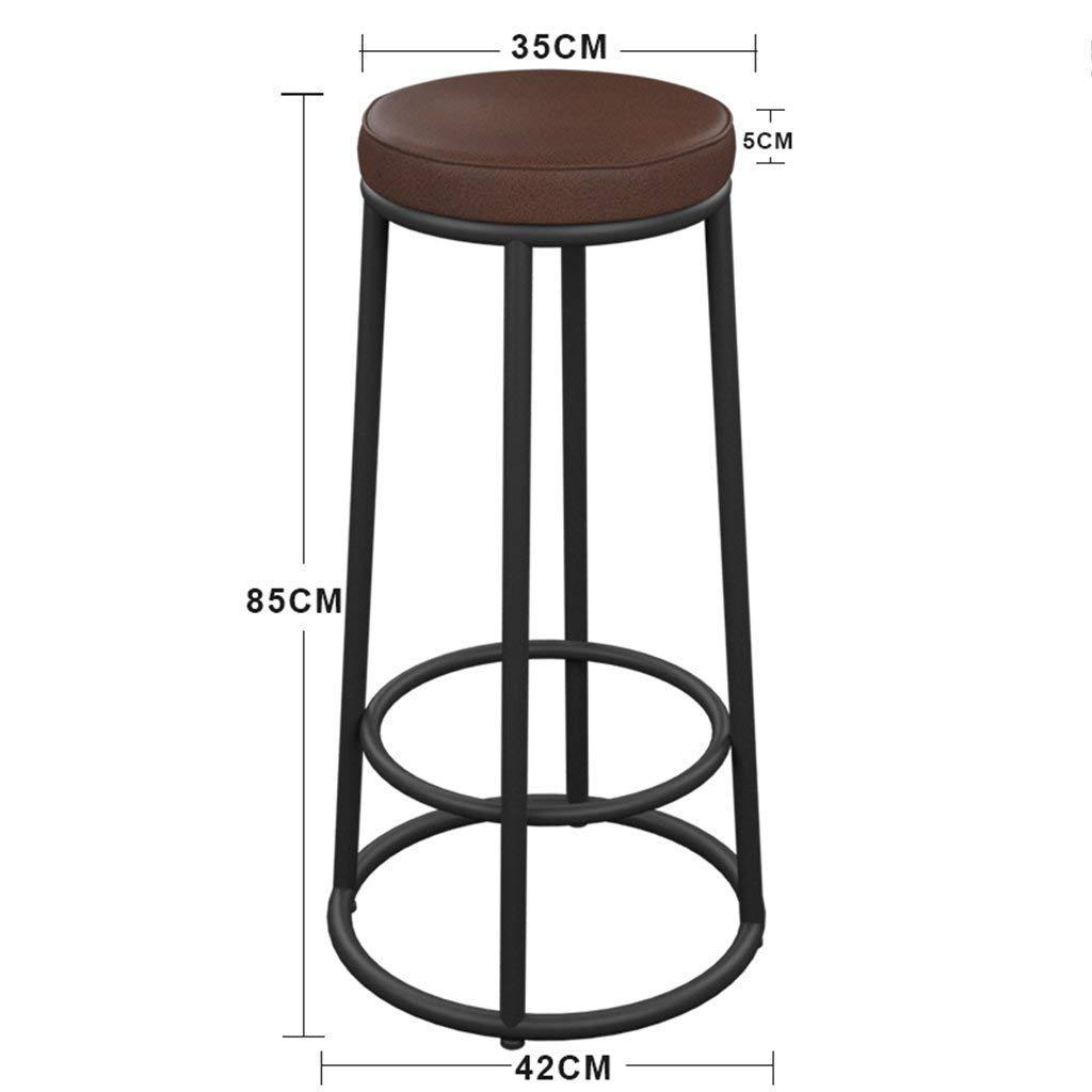 SBBD Seat Chair-Bar Chair Iron Solid Wood/Leatherette Cushion Seat Bar Chair Simple Bar Household High Stool American Style Retro Bar Stool -Sponge + Leatherette/Solid Wood Chair Surface