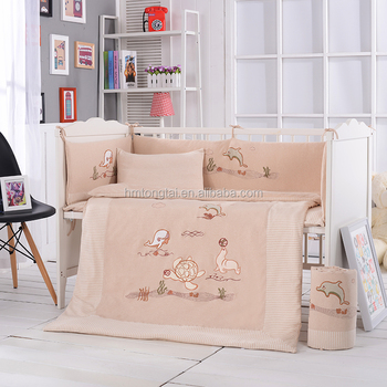 Newest Colored Cotton Embroidery Quilt Pillow Bumper Mattress Baby