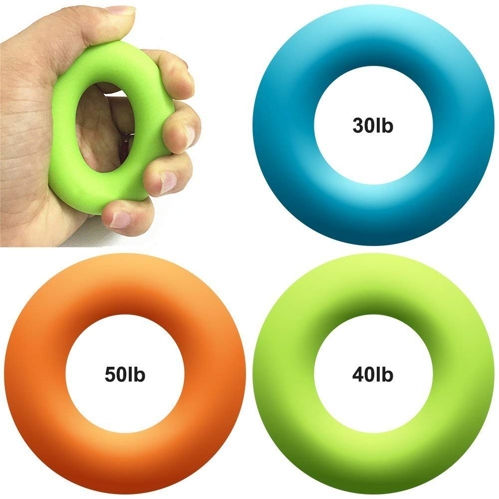 Easyinsmile Hand Grip Strengthener Exercisers Set of 3, maxin 3 Levels Ring Round Silicone Hand Grippers Strengtheners-Perfect for Increasing Hand, Finger, Wrist, and Forearm Strength.