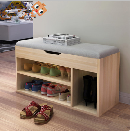 Latest design wooden shoe storage stool with cushion