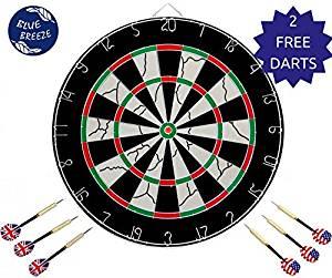 HIEMAO Dart Board, Dart Game Set 6 Metal Darts Double-Sided Flocking Dartboard (18 Inches)