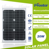 High efficiency mono 18 volt 20 watt photovoltaic solar panel with TUV certificate