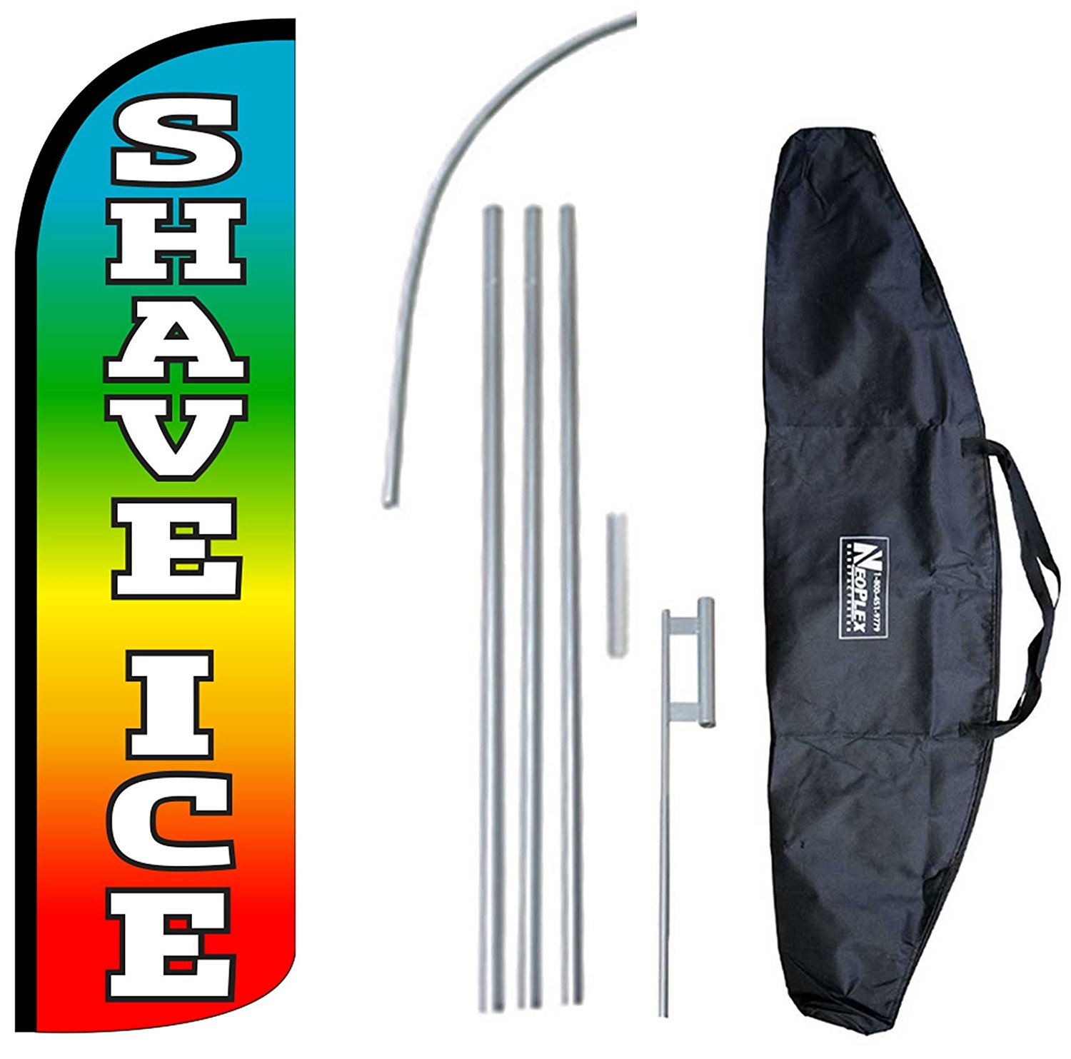 """SHAVE ICE"" 12-foot KING SIZE Complete Swooper Feather Flag and Case Set...includes 12-foot Flag, 15-foot Pole, Ground Spike, and Carrying/Storage Case"
