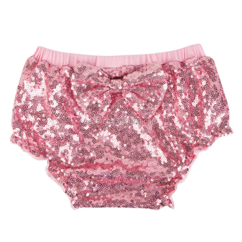Fashion high quality for the latest design for unisex baby infant diaper type pink color shiny sequin with bowknot