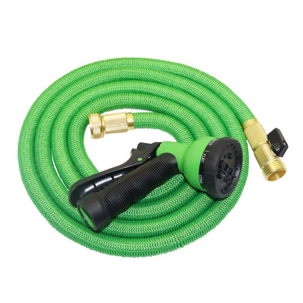 Garden Hose–75 ft Heavy Duty Expandable- FuriGer Premium Flexible & Expanding-8-Pattern High-Pressure Water Spray Nozzle - No Kink Tangle-Free Lawn & Plant Watering &Showering Pets (75FT Green)