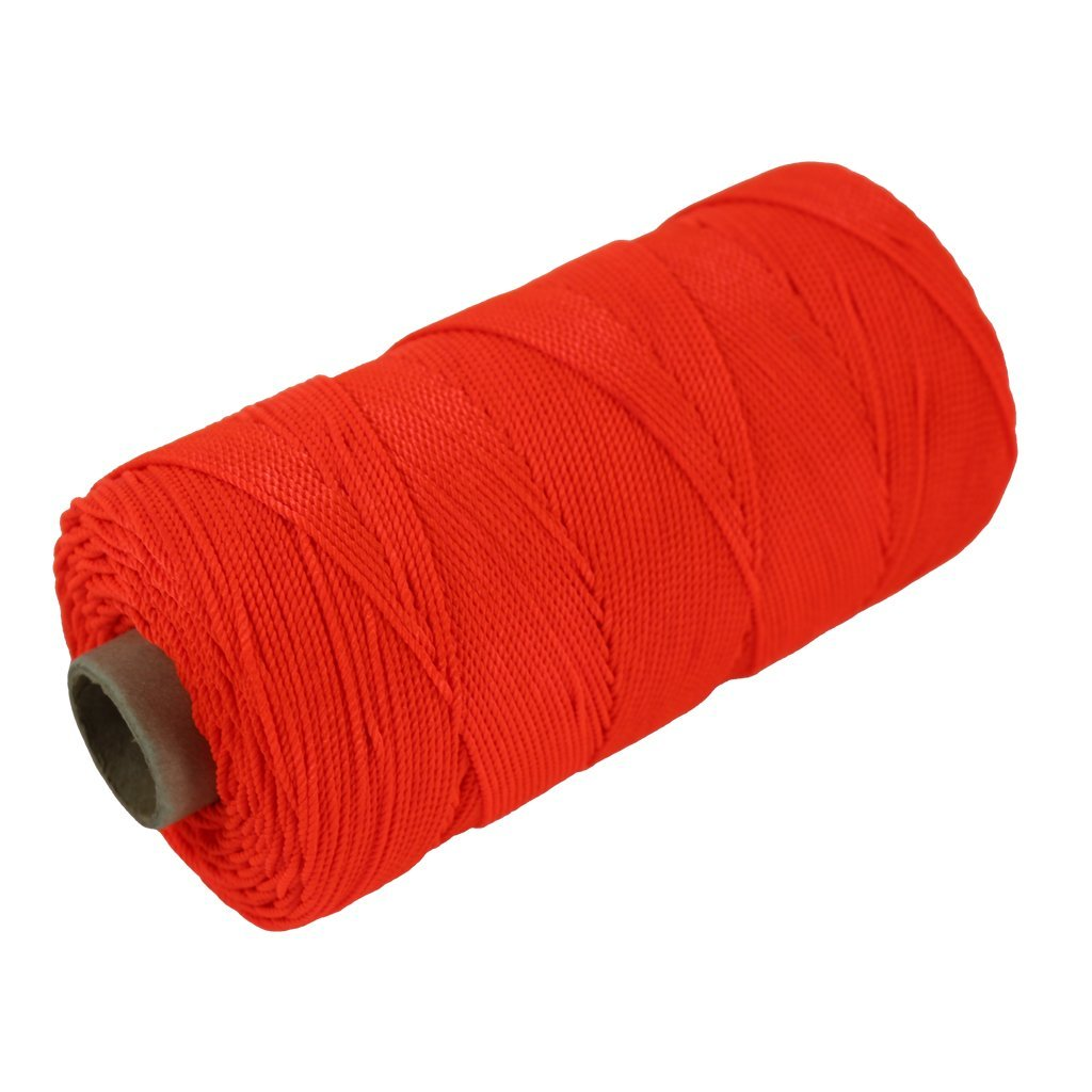 Twisted Nylon Mason Line #18 - SGT KNOTS - Moisture, Oil, Acid & Rot Resistant - Twine String for Masonry, Marine, DIY Projects, Crafting, Commercial, Gardening (275 feet - Florescent Orange)