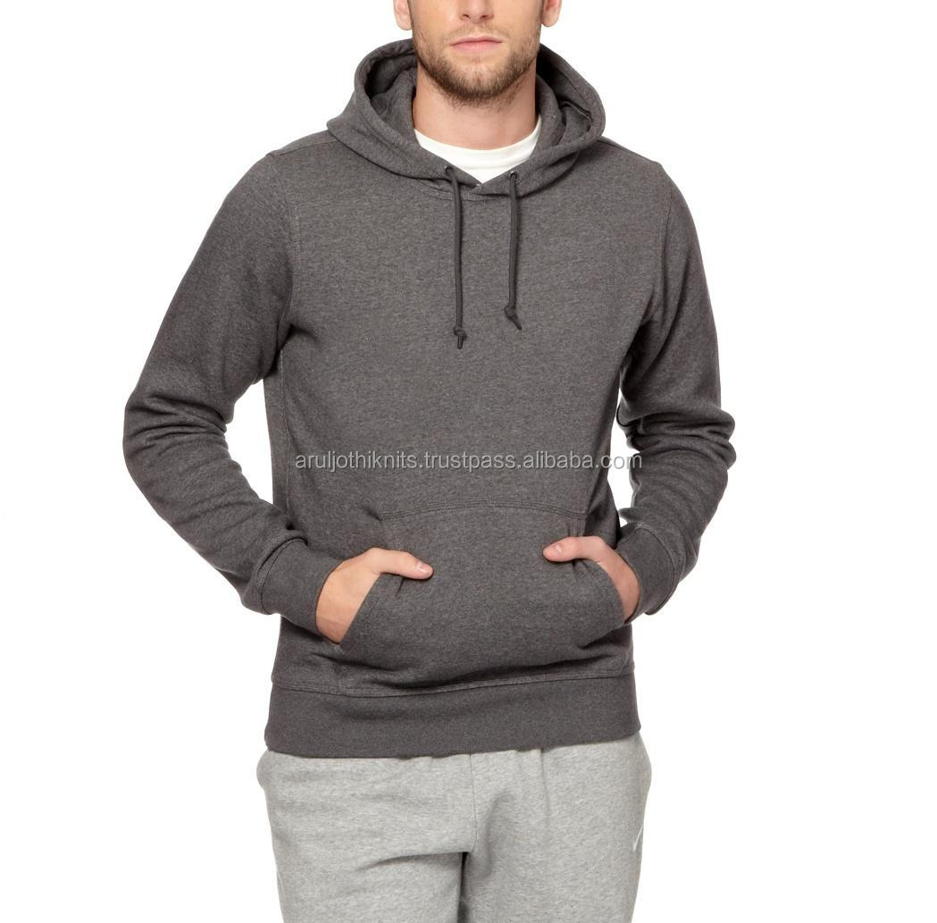 60% COTTON 40% POLYESTER MEN'S PLAIN BROWN PULLOVER HOODIES WITH POCKET