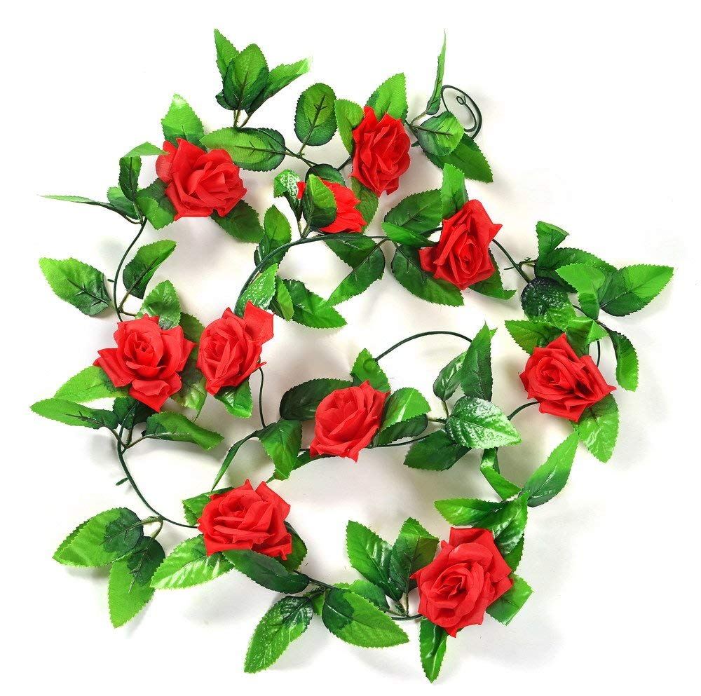 Artificial Rose Silk Flower Green Leaf Vine Garland Home Wall Party Decor Wedding Decal (Red)