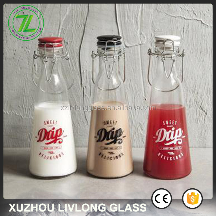 cone shape 500ml homemade juice packaging 1000ml vintage swing top glass milk bottle for sale