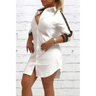 3 Colors Solid Short Sleeve V Neck T Shirt Mini Sports Dress for Ladies