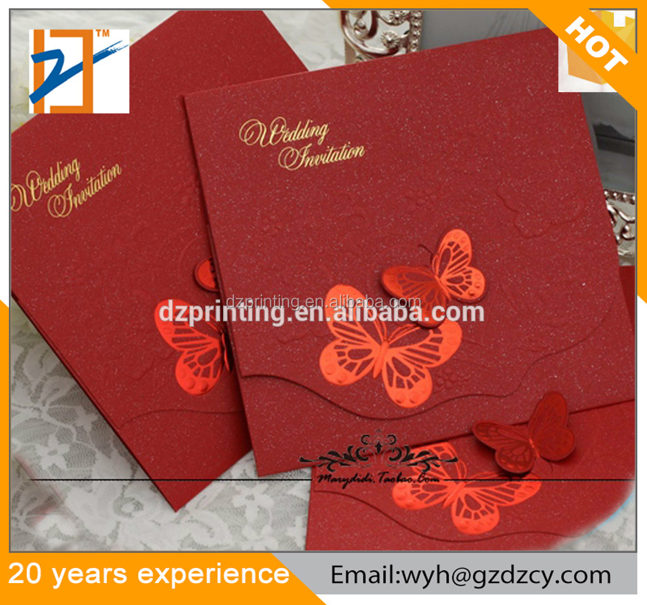2017 Latest Wedding Card Designs White / Red Personalized Wedding ...