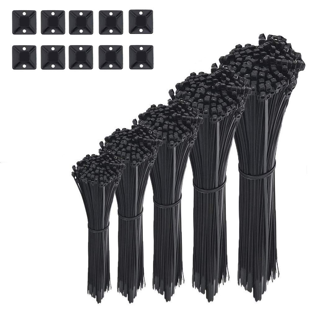 AMANEER Cable Zip Ties Black Flexible Nylon Wire Ties Ajustable Cable Cord Management For Electrical Accessories (500 Variety Pack)