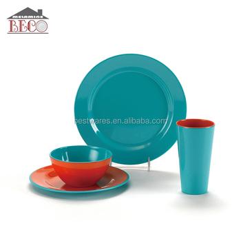 e2dd1303c0b Hot Sale Two-tone Camping 4 Pcs Melamine Plastic Dinner Set - Buy ...
