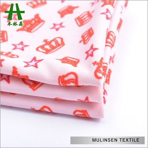 Mulinsen Textile Crown And Stars 118D Spandex Polyester Printed Knitted DTY Fabric