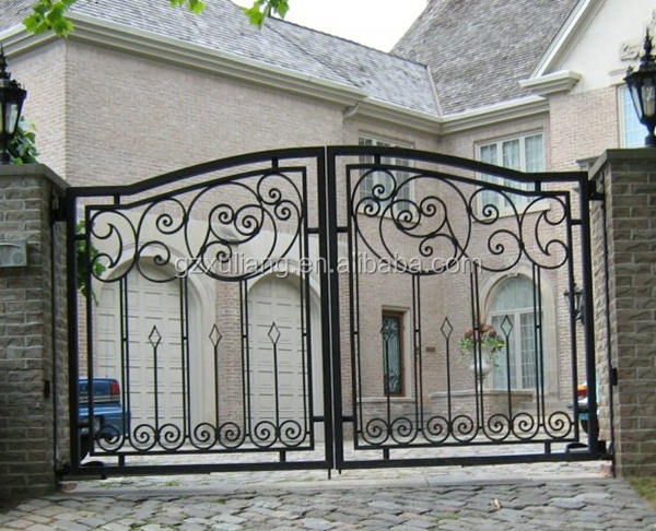 External Paint Powder Coating House Iron Main Gate Design