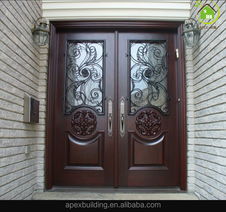 Walnut Solid Wood Entry Door Wrought Iron Wood Double Door Entrance