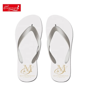 OEM small quantity cute unisex novelty wedding bride flip flop make your own custom printed white flat slippers for guests