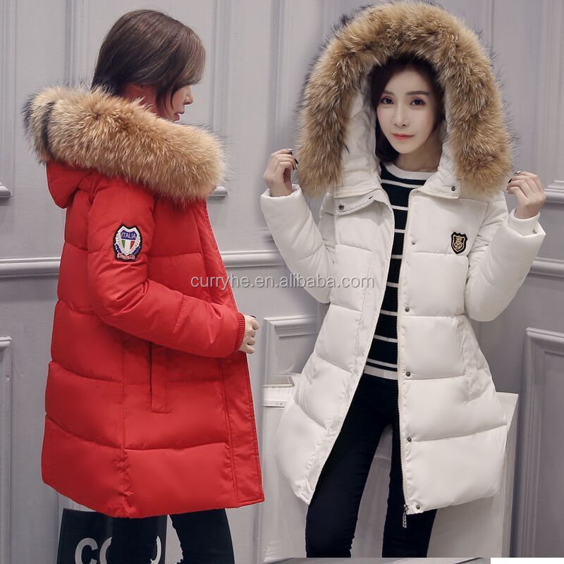 Guangzhou Factory OEM Service High Quality Winter Women Down Cotton Parka 100% Raccoon Fur Collar Long Hooded Coat Jacket