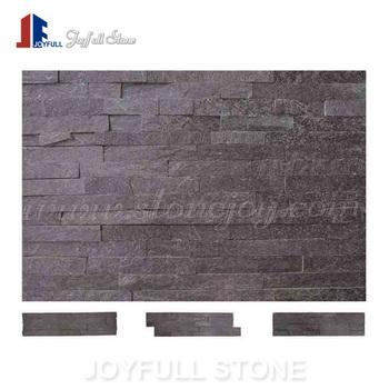 Split Black Slate Stone Quartz Wall Panels Veneers For Interior