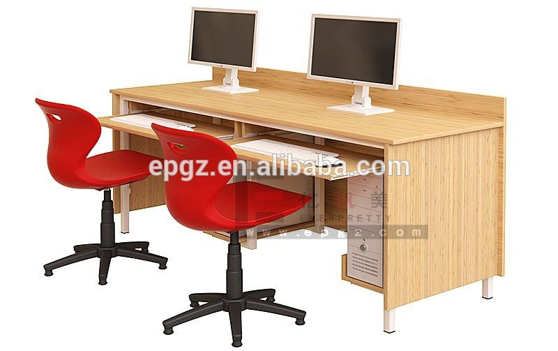 2 seater school hot sale wooden cheap computer desk with attached hanging cpu holder for laptop