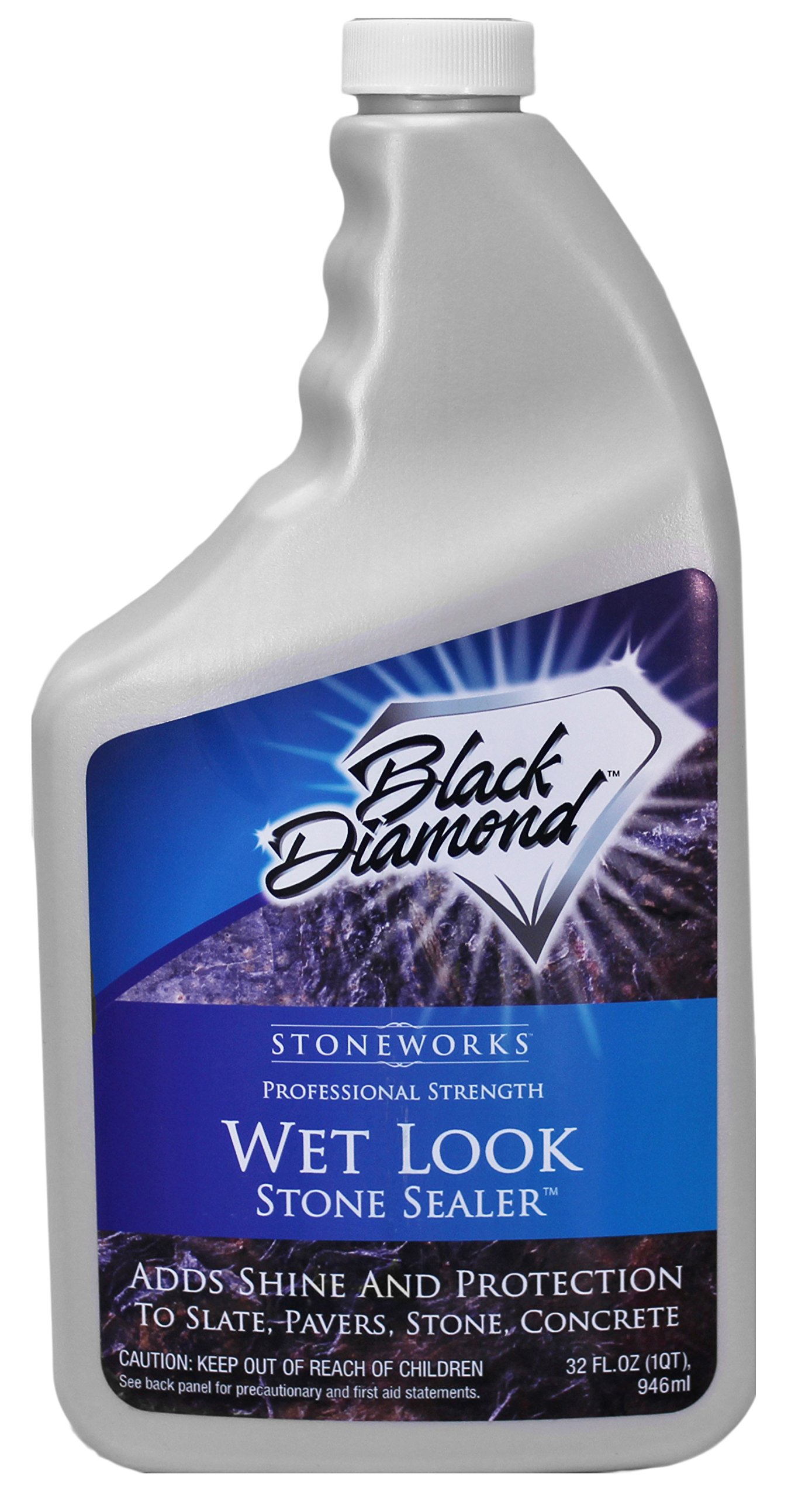 Black Diamond Stoneworks Wet Look Natural Stone Sealer Provides Durable Gloss and Protection to: Slate, Concrete, Brick, Sandstone, Driveways, Garage Floors. Interior or Exterior. 1 QT