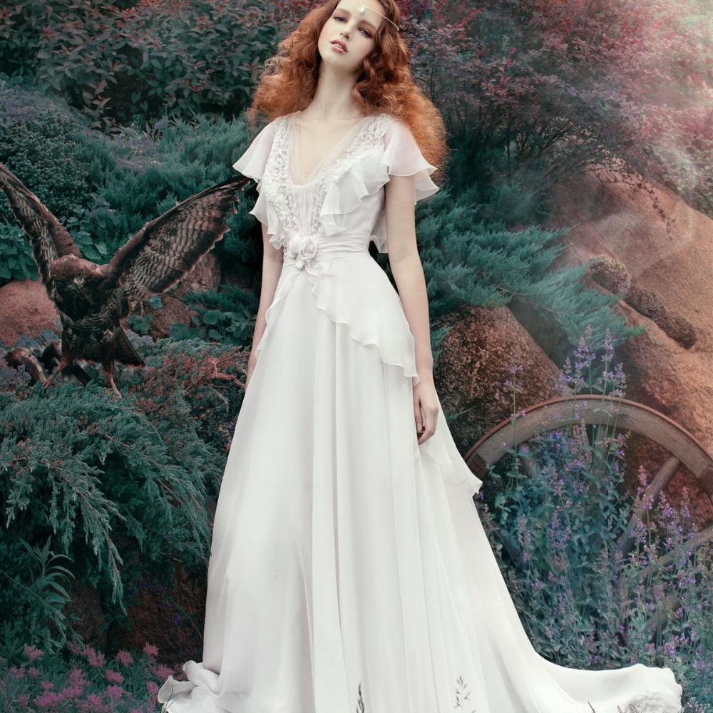 Garden Wedding Gowns: Elegant Sexy Applique Flowers Chiffon Garden Wedding Dress