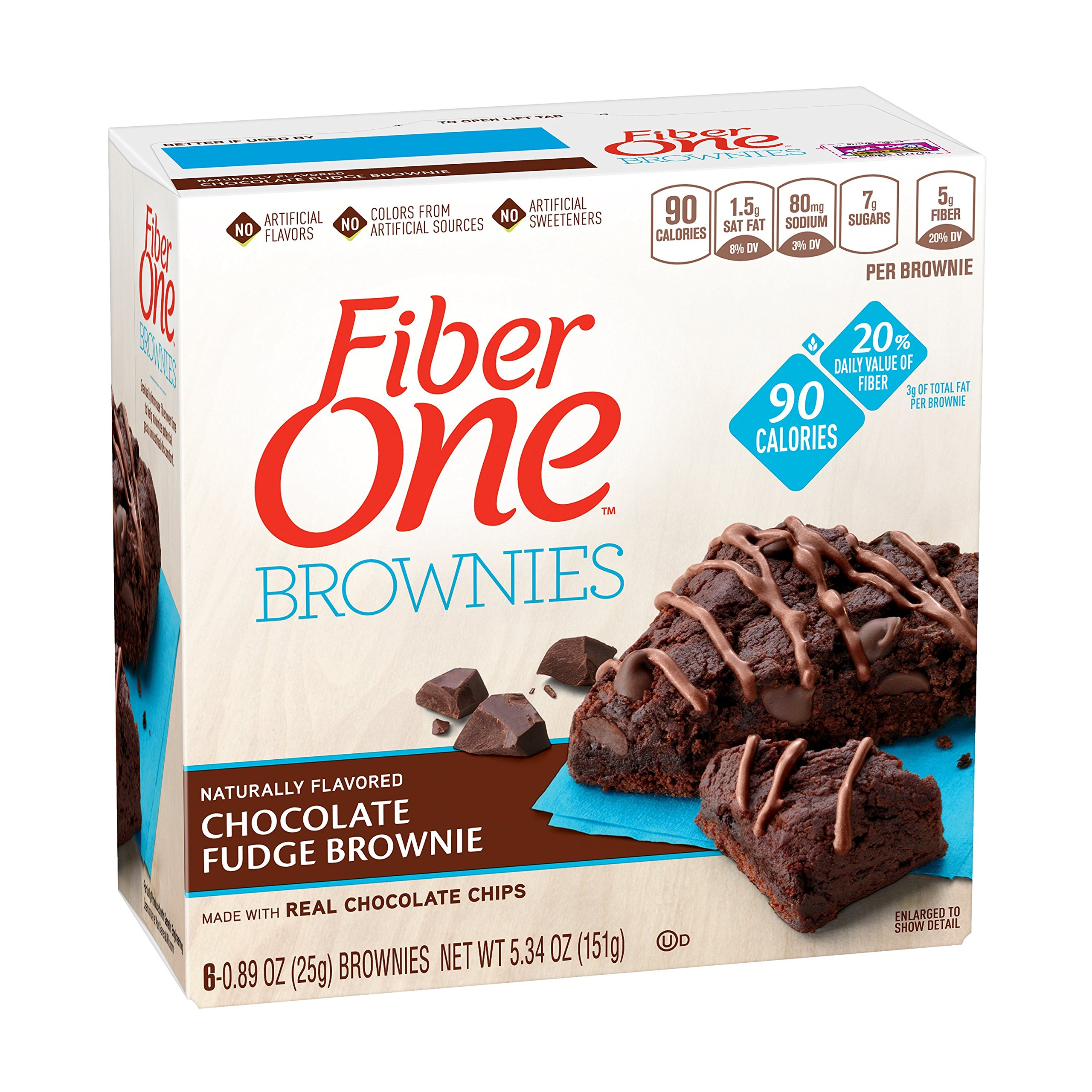 Fiber One Brownies, 90 Calorie Bar, Chocolate Fudge Brownie, 6 Fiber Bars, 5.34 oz