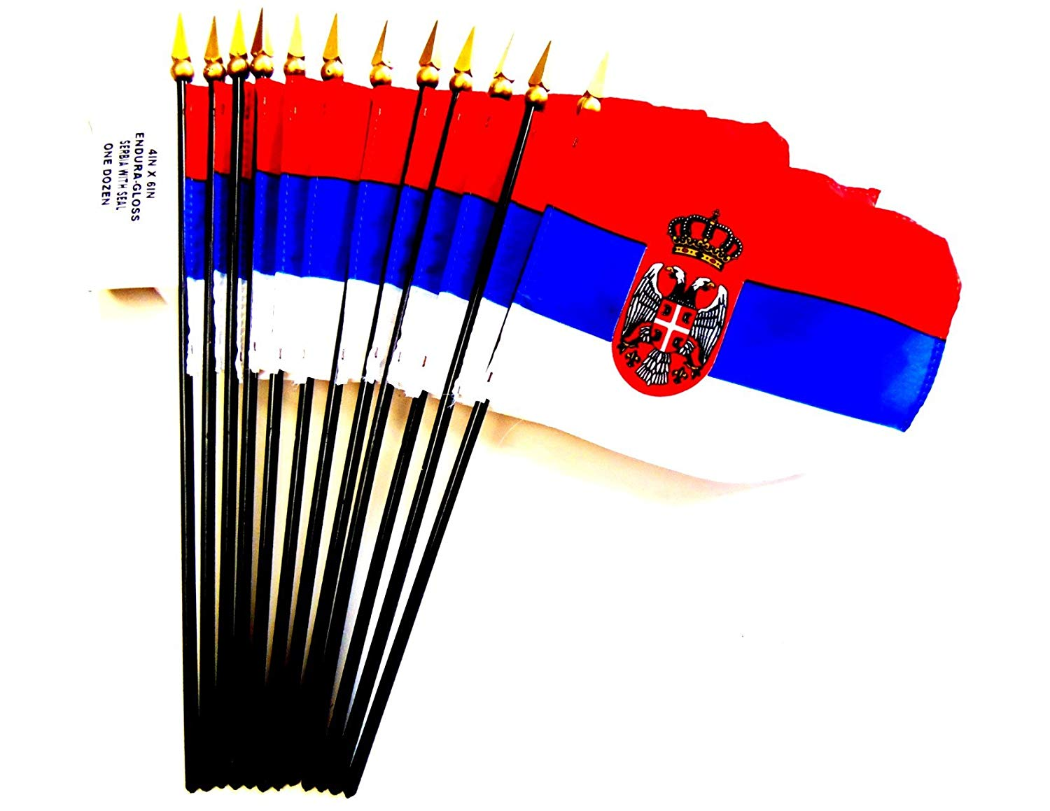 """Made in USA!! Box of 12 Serbia 4""""x6"""" Miniature Desk & Little Table Flags; 12 Office and Waving Small Mini Serbian Handheld Stick Flags in a Custom Made Cardboard Box Made for These Flags"""