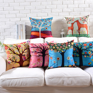 wholesale oil painting tree cotton linen cushion cover decor pillow cases digital printing custom cushion